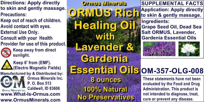 Ormus Minerals - Ormus Rich Healing Oil with LAVENDER and GARDENIA Essential Oils