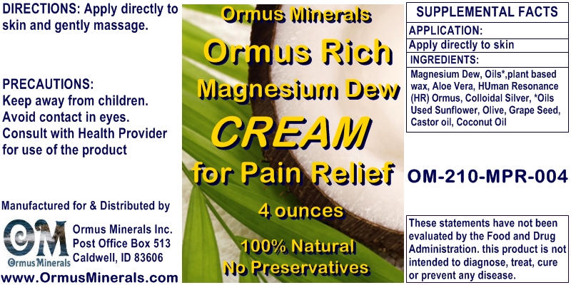 Ormus Minerals ORMUS Rich Magnesium Dew Cream for Pain